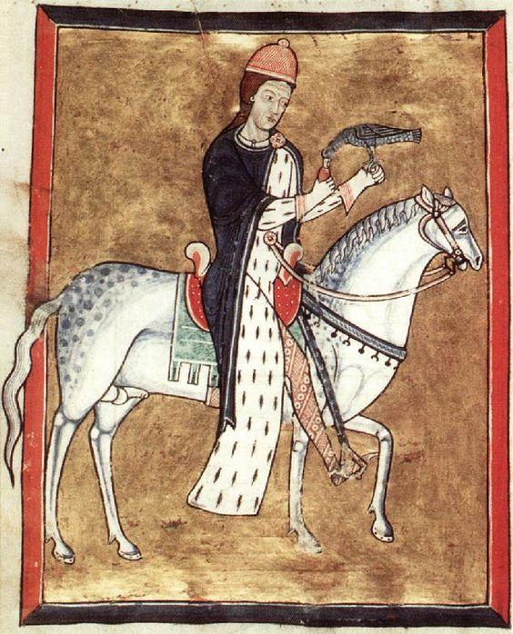 Falknerin zu Pferd Mittelalter